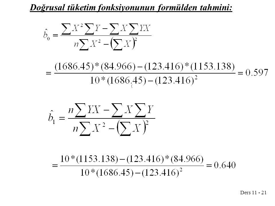 Ders 11 - 21 Doğrusal tüketim fonksiyonunun formülden tahmini: (