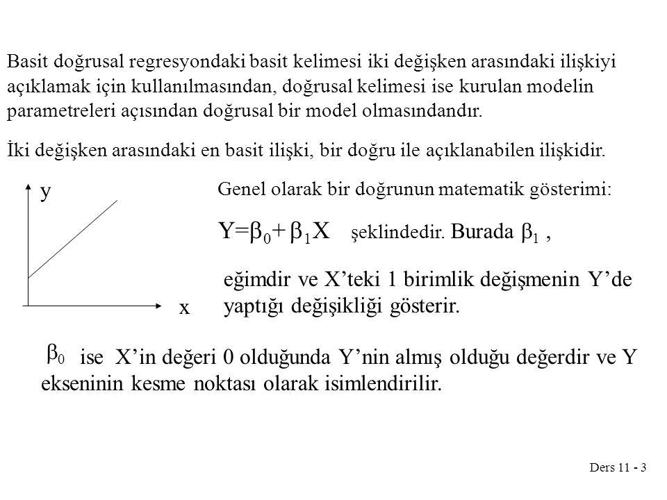 Ders 11 - 3 Basit doğrusal regresyondaki basit kelimesi iki değişken arasındaki ilişkiyi açıklamak için kullanılmasından, doğrusal kelimesi ise kurulan modelin parametreleri açısından doğrusal bir model olmasındandır.
