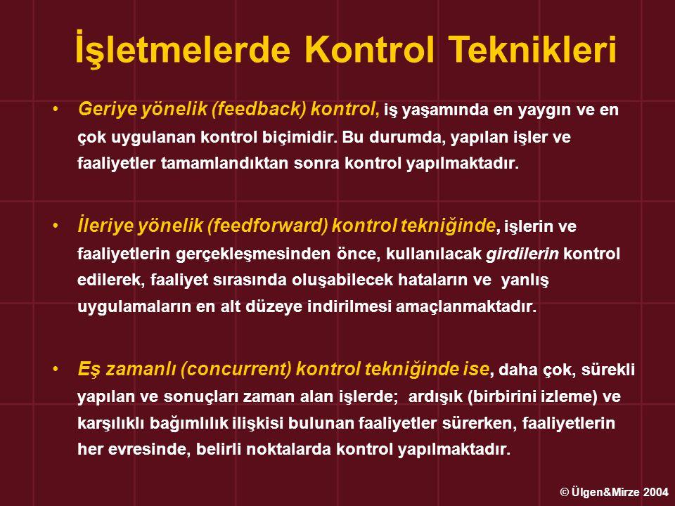 Geriye yönelik (feedback) kontrol, iş yaşamında en yaygın ve en çok uygulanan kontrol biçimidir. Bu durumda, yapılan işler ve faaliyetler tamamlandıkt