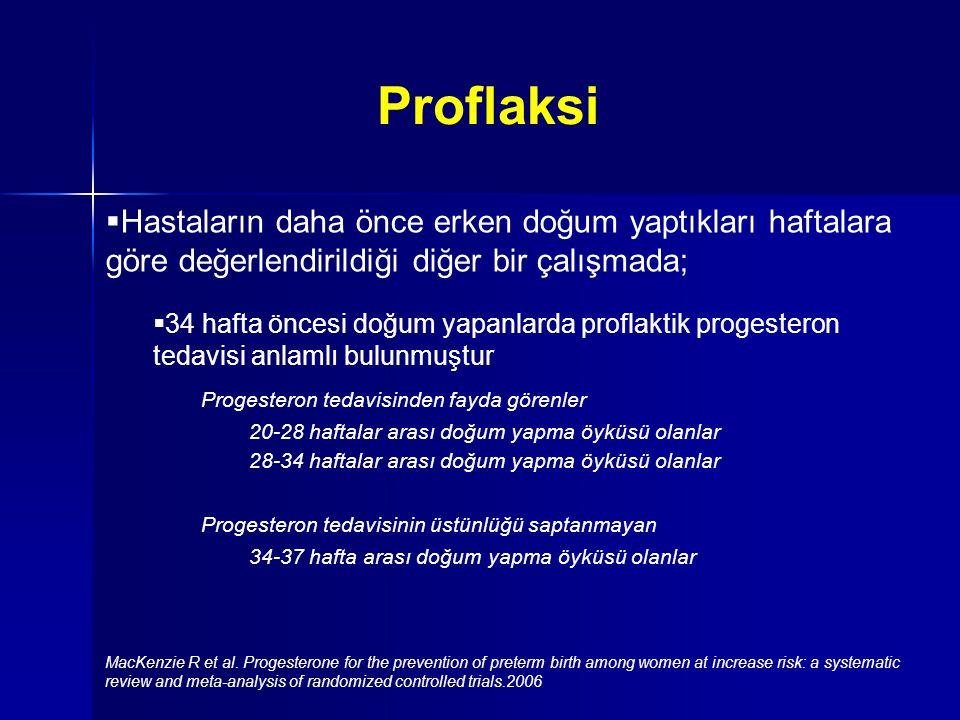  Hastaların daha önce erken doğum yaptıkları haftalara göre değerlendirildiği diğer bir çalışmada;  34 hafta öncesi doğum yapanlarda proflaktik progesteron tedavisi anlamlı bulunmuştur Progesteron tedavisinden fayda görenler 20-28 haftalar arası doğum yapma öyküsü olanlar 28-34 haftalar arası doğum yapma öyküsü olanlar Progesteron tedavisinin üstünlüğü saptanmayan 34-37 hafta arası doğum yapma öyküsü olanlar MacKenzie R et al.