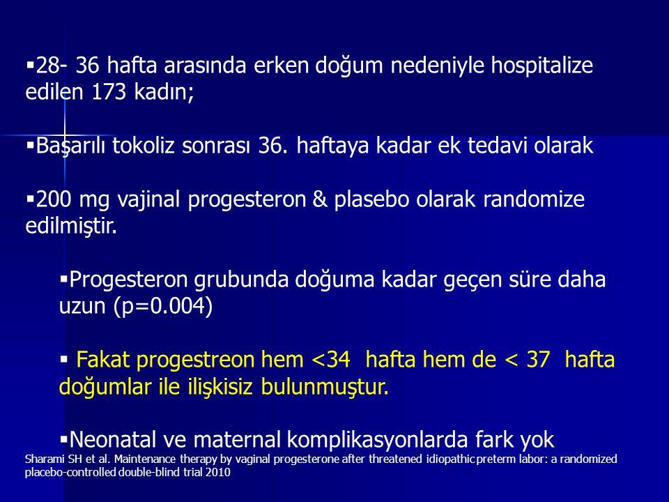  28- 36 hafta arasında erken doğum nedeniyle hospitalize edilen 173 kadın;  Başarılı tokoliz sonrası 36.