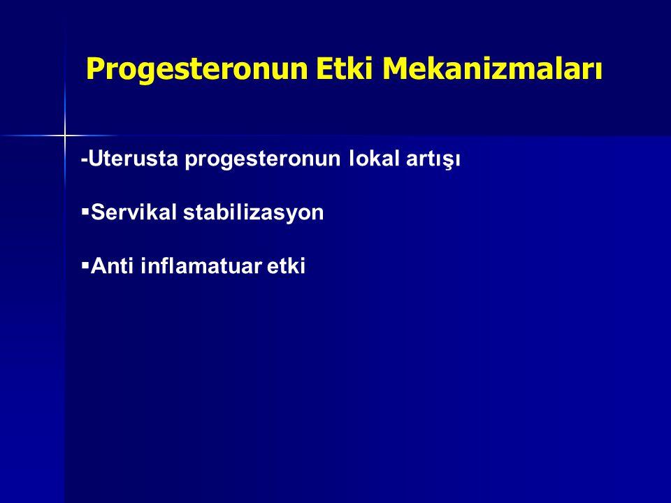 -Uterusta progesteronun lokal artışı  Servikal stabilizasyon  Anti inflamatuar etki Progesteronun Etki Mekanizmaları