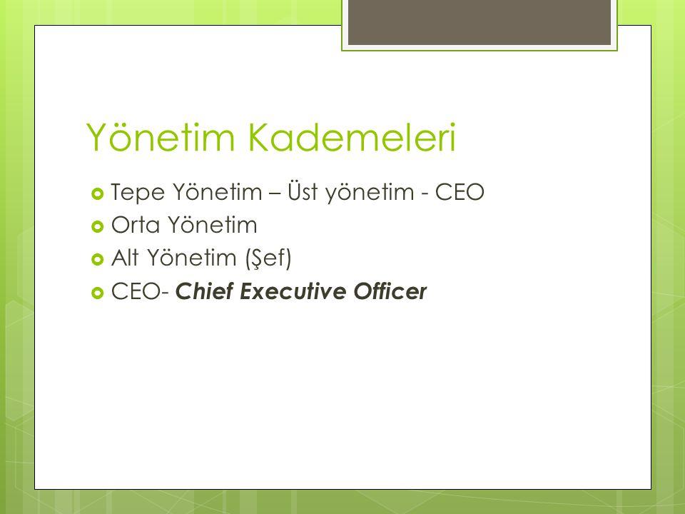Yönetim Kademeleri  Tepe Yönetim – Üst yönetim - CEO  Orta Yönetim  Alt Yönetim (Şef)  CEO- Chief Executive Officer
