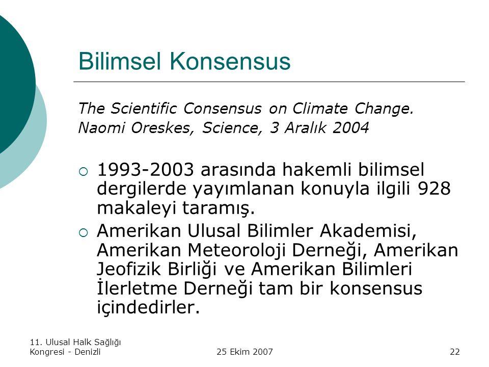 11. Ulusal Halk Sağlığı Kongresi - Denizli25 Ekim 200722 Bilimsel Konsensus The Scientific Consensus on Climate Change. Naomi Oreskes, Science, 3 Aral
