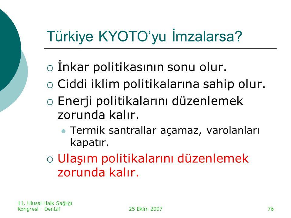 11.Ulusal Halk Sağlığı Kongresi - Denizli25 Ekim 200777 Türkiye KYOTO'yu İmzalarsa.