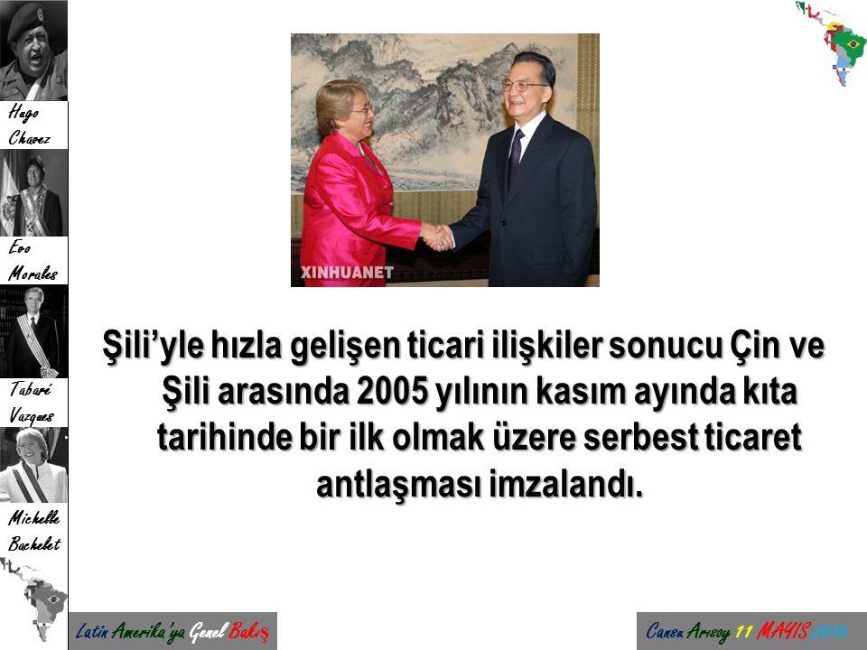 Latin Amerika'ya Genel Bakı ş Cansu Arısoy 11 MAYIS 2010 Hugo Chavez Evo Morales Tabaré Vazques Michelle Bachelet Şili'yle hızla gelişen ticari ilişki