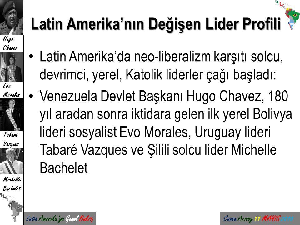 Latin Amerika'ya Genel Bakı ş Cansu Arısoy 11 MAYIS 2010 Hugo Chavez Evo Morales Tabaré Vazques Michelle Bachelet Latin Amerika'nın Değişen Lider Prof