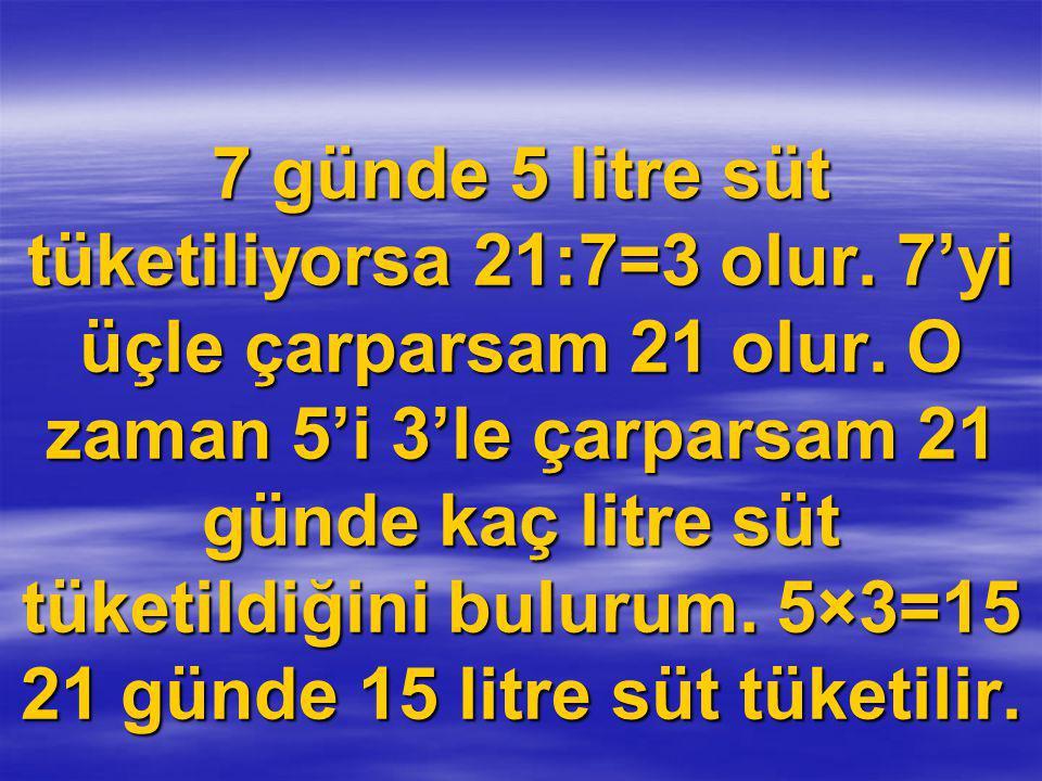 7 günde 5 litre süt tüketiliyorsa 21:7=3 olur.7'yi üçle çarparsam 21 olur.