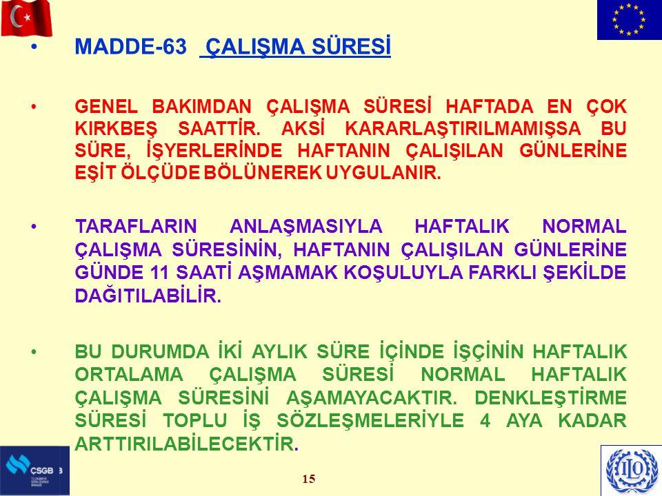 15 MADDE-63 ÇALIŞMA SÜRESİ GENEL BAKIMDAN ÇALIŞMA SÜRESİ HAFTADA EN ÇOK KIRKBEŞ SAATTİR.