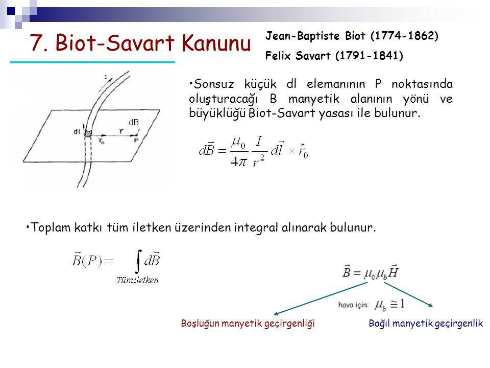7. Biot-Savart Kanunu Sonsuz küçük dl elemanının P noktasında oluşturacağı B manyetik alanının yönü ve büyüklüğü Biot-Savart yasası ile bulunur. dB To