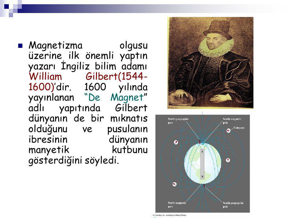 """Magnetizma olgusu üzerine ilk önemli yaptın yazarı İngiliz bilim adamı William Gilbert(1544- 1600)'dir. 1600 yılında yayınlanan """"De Magnet"""" adlı yapıt"""