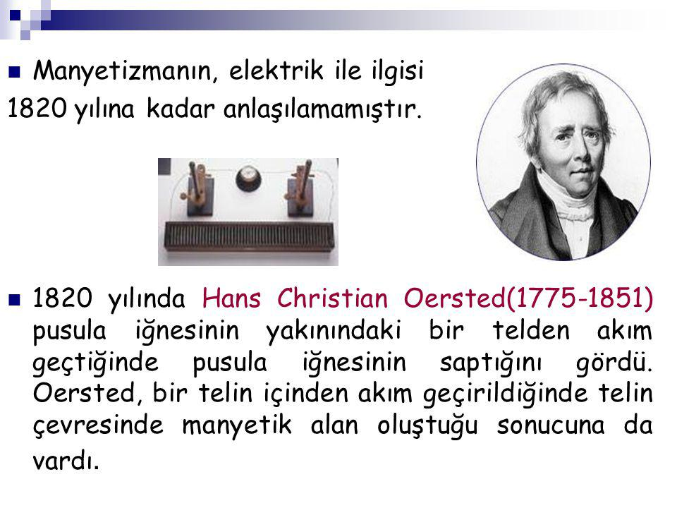 Manyetizmanın, elektrik ile ilgisi 1820 yılına kadar anlaşılamamıştır. 1820 yılında Hans Christian Oersted(1775-1851) pusula iğnesinin yakınındaki bir