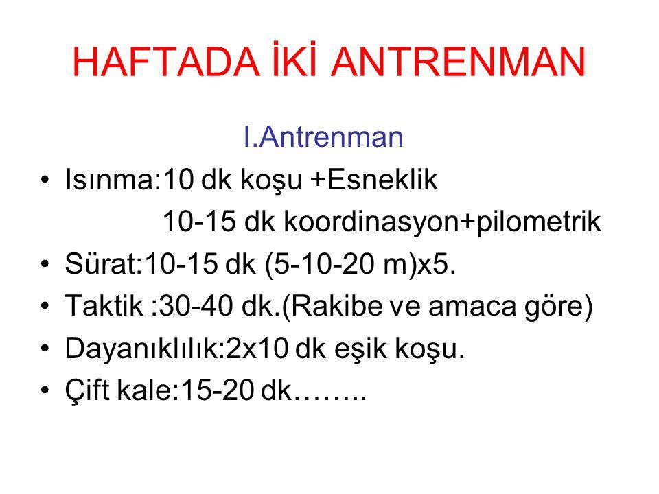 HAFTADA İKİ ANTRENMAN I.Antrenman Isınma:10 dk koşu +Esneklik 10-15 dk koordinasyon+pilometrik Sürat:10-15 dk (5-10-20 m)x5. Taktik :30-40 dk.(Rakibe