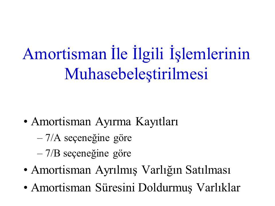 Amortisman İle İlgili İşlemlerinin Muhasebeleştirilmesi Amortisman Ayırma Kayıtları – 7/A seçeneğine göre – 7/B seçeneğine göre Amortisman Ayrılmış Va