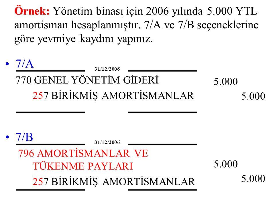 Örnek: Örnek: Yönetim binası için 2006 yılında 5.000 YTL amortisman hesaplanmıştır. 7/A ve 7/B seçeneklerine göre yevmiye kaydını yapınız. 7/B 796 AMO