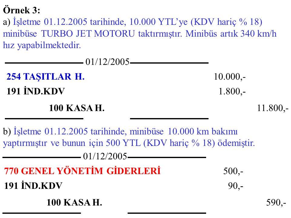 Örnek 3: a) İşletme 01.12.2005 tarihinde, 10.000 YTL'ye (KDV hariç % 18) minibüse TURBO JET MOTORU taktırmıştır. Minibüs artık 340 km/h hız yapabilmek