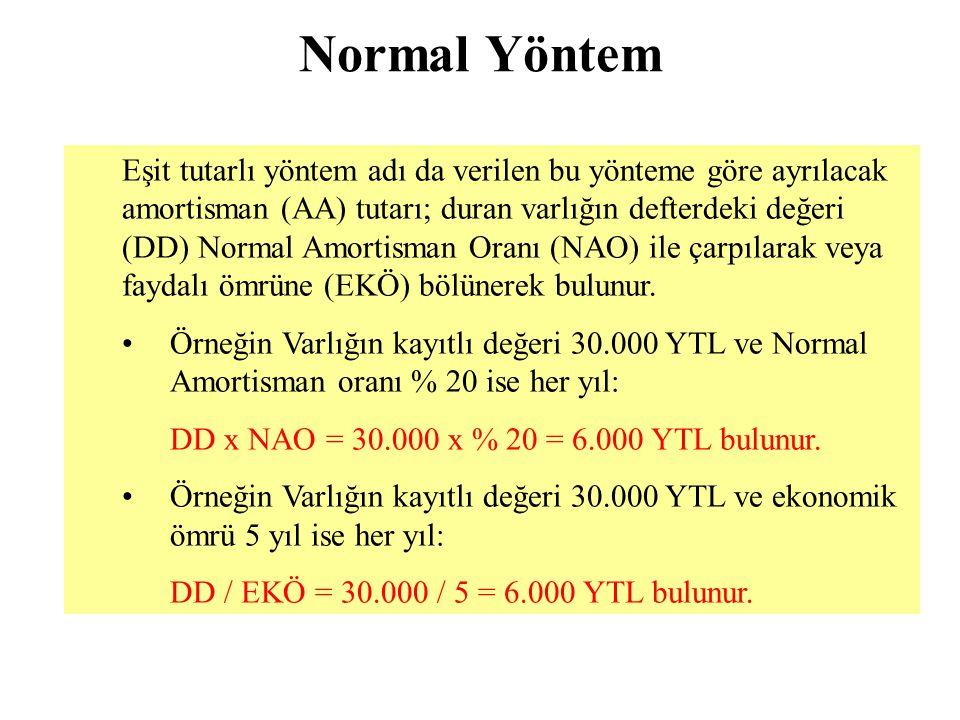 Normal Yöntem Eşit tutarlı yöntem adı da verilen bu yönteme göre ayrılacak amortisman (AA) tutarı; duran varlığın defterdeki değeri (DD) Normal Amorti