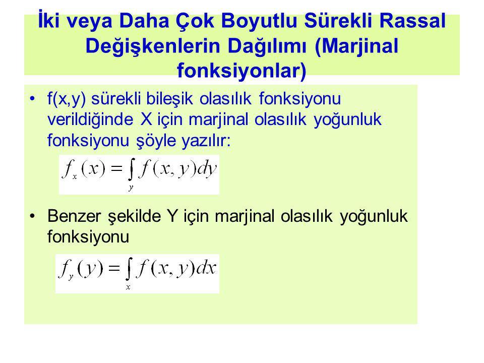 İki veya Daha Çok Boyutlu Sürekli Rassal Değişkenlerin Dağılımı (Marjinal fonksiyonlar) f(x,y) sürekli bileşik olasılık fonksiyonu verildiğinde X için marjinal olasılık yoğunluk fonksiyonu şöyle yazılır: Benzer şekilde Y için marjinal olasılık yoğunluk fonksiyonu