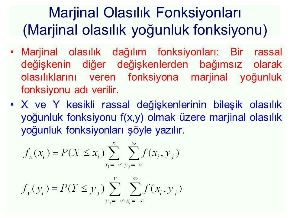 Marjinal Olasılık Fonksiyonları (Marjinal olasılık yoğunluk fonksiyonu) Marjinal olasılık dağılım fonksiyonları: Bir rassal değişkenin diğer değişkenlerden bağımsız olarak olasılıklarını veren fonksiyona marjinal yoğunluk fonksiyonu adı verilir.