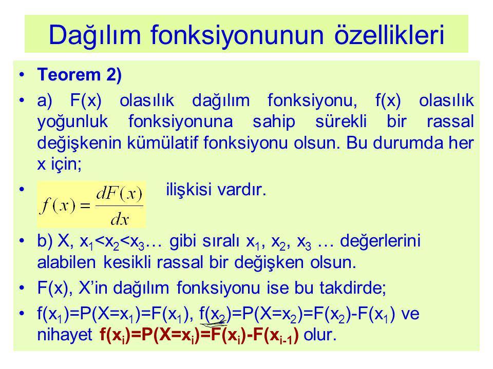 Dağılım fonksiyonunun özellikleri Teorem 2) a) F(x) olasılık dağılım fonksiyonu, f(x) olasılık yoğunluk fonksiyonuna sahip sürekli bir rassal değişkenin kümülatif fonksiyonu olsun.