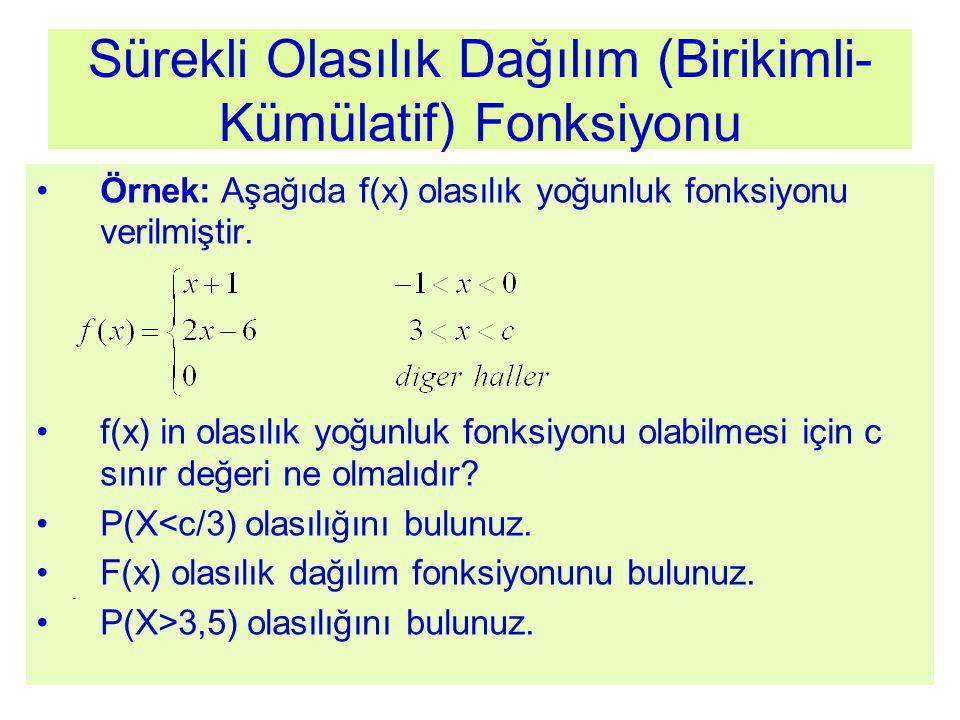 Sürekli Olasılık Dağılım (Birikimli- Kümülatif) Fonksiyonu Örnek: Aşağıda f(x) olasılık yoğunluk fonksiyonu verilmiştir. f(x) in olasılık yoğunluk fon