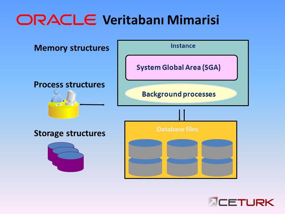 Storage structures Memory structures Process structures Instance System Global Area (SGA) Background processes Database files Veritabanı Mimarisi