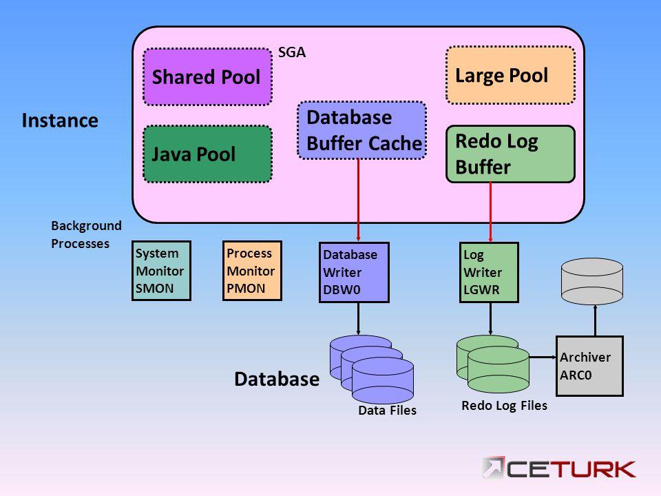 System Monitor SMON Database Writer DBW0 Log Writer LGWR Process Monitor PMON Archiver ARC0 SGA Java Pool Database Buffer Cache Redo Log Buffer Shared Pool Large Pool Instance Database Background Processes Data Files Redo Log Files