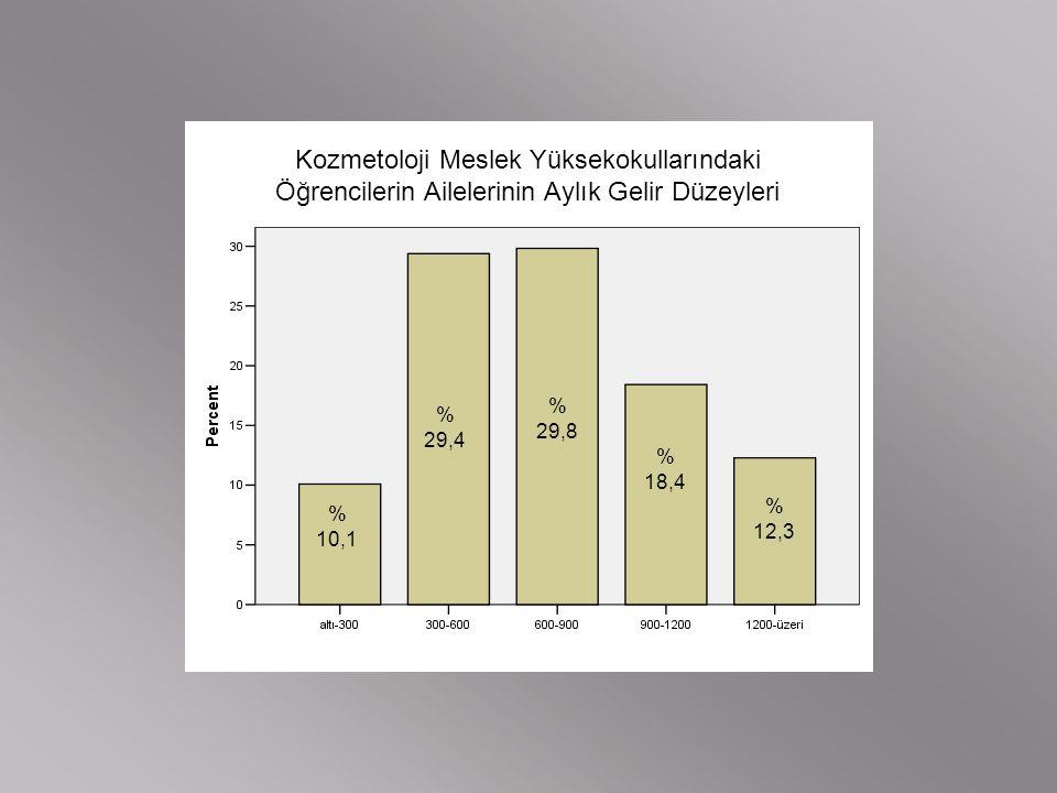 Kozmetoloji Meslek Yüksekokullarındaki Öğrencilerin Ailelerinin Aylık Gelir Düzeyleri % 10,1 % 29,4 % 29,8 % 18,4 % 12,3