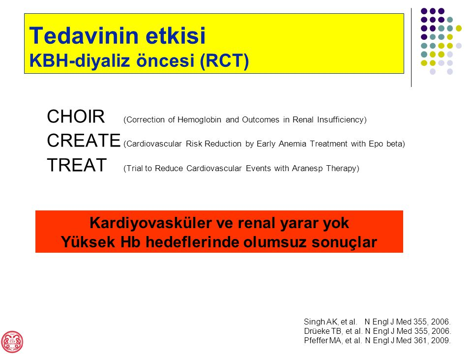 CHOIR (Correction of Hemoglobin and Outcomes in Renal Insufficiency) CREATE (Cardiovascular Risk Reduction by Early Anemia Treatment with Epo beta) TREAT (Trial to Reduce Cardiovascular Events with Aranesp Therapy) Kardiyovasküler ve renal yarar yok Yüksek Hb hedeflerinde olumsuz sonuçlar Singh AK, et al.