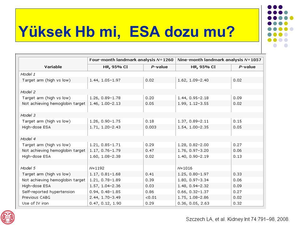 Szczech LA, et al. Kidney Int 74:791–98, 2008. Yüksek Hb mi, ESA dozu mu