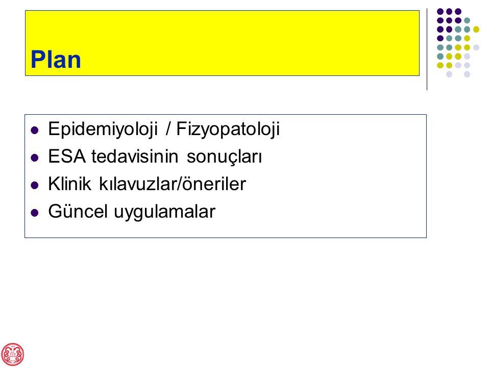 Plan Epidemiyoloji / Fizyopatoloji ESA tedavisinin sonuçları Klinik kılavuzlar/öneriler Güncel uygulamalar