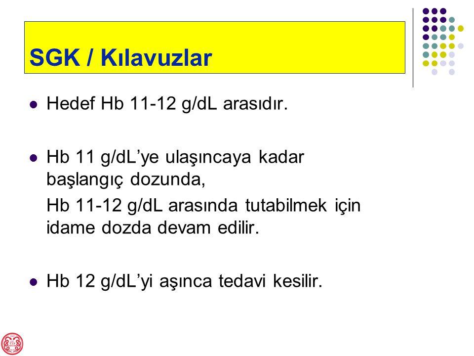 Hedef Hb 11-12 g/dL arasıdır.