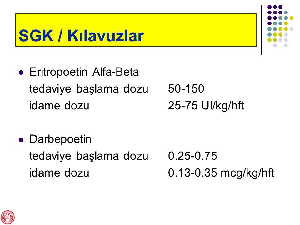 Eritropoetin Alfa-Beta tedaviye başlama dozu50-150 idame dozu25-75 UI/kg/hft Darbepoetin tedaviye başlama dozu0.25-0.75 idame dozu0.13-0.35 mcg/kg/hft SGK / Kılavuzlar