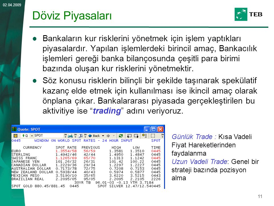 11 02.04.2009 Döviz Piyasaları Bankaların kur risklerini yönetmek için işlem yaptıkları piyasalardır. Yapılan işlemlerdeki birincil amaç, Bankacılık i