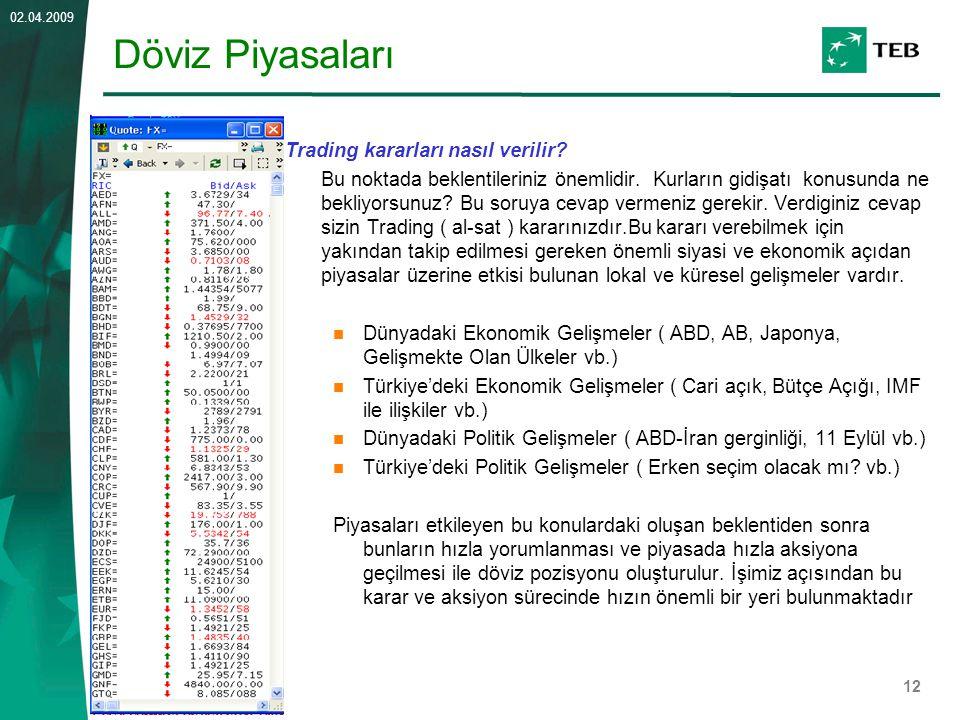 12 02.04.2009 Döviz Piyasaları Trading kararları nasıl verilir? Bu noktada beklentileriniz önemlidir. Kurların gidişatı konusunda ne bekliyorsunuz? Bu