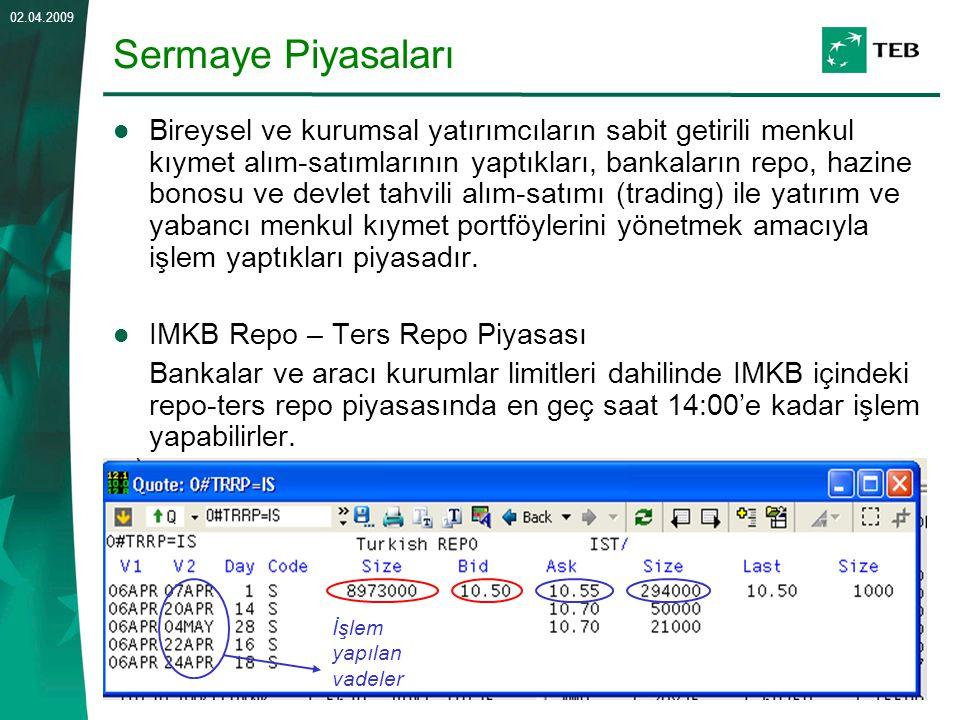 14 02.04.2009 Sermaye Piyasaları Bireysel ve kurumsal yatırımcıların sabit getirili menkul kıymet alım-satımlarının yaptıkları, bankaların repo, hazin