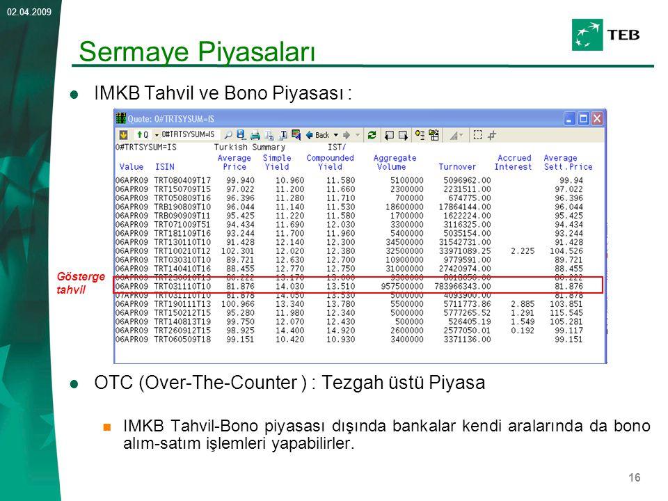 16 02.04.2009 IMKB Tahvil ve Bono Piyasası : OTC (Over-The-Counter ) : Tezgah üstü Piyasa IMKB Tahvil-Bono piyasası dışında bankalar kendi aralarında