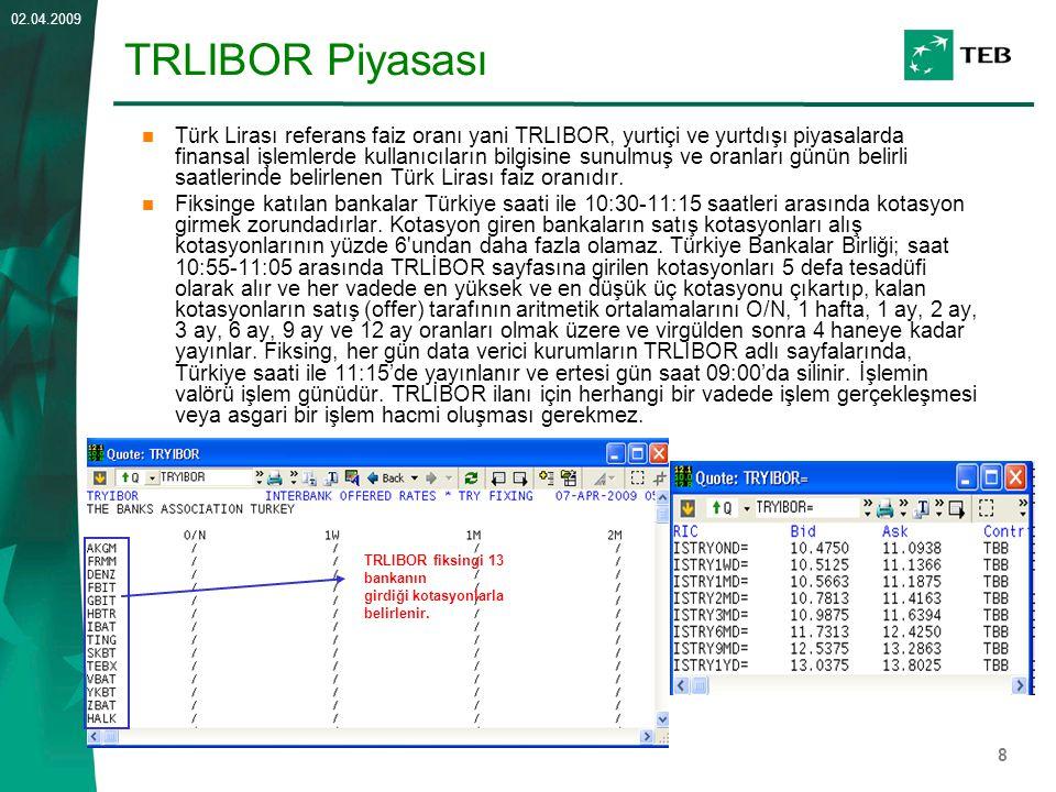 8 02.04.2009 TRLIBOR Piyasası Türk Lirası referans faiz oranı yani TRLIBOR, yurtiçi ve yurtdışı piyasalarda finansal işlemlerde kullanıcıların bilgisi