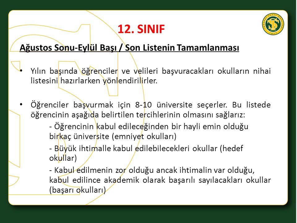 12. SINIF Ağustos Sonu-Eylül Başı / Son Listenin Tamamlanması Yılın başında öğrenciler ve velileri başvuracakları okulların nihai listesini hazırlarke