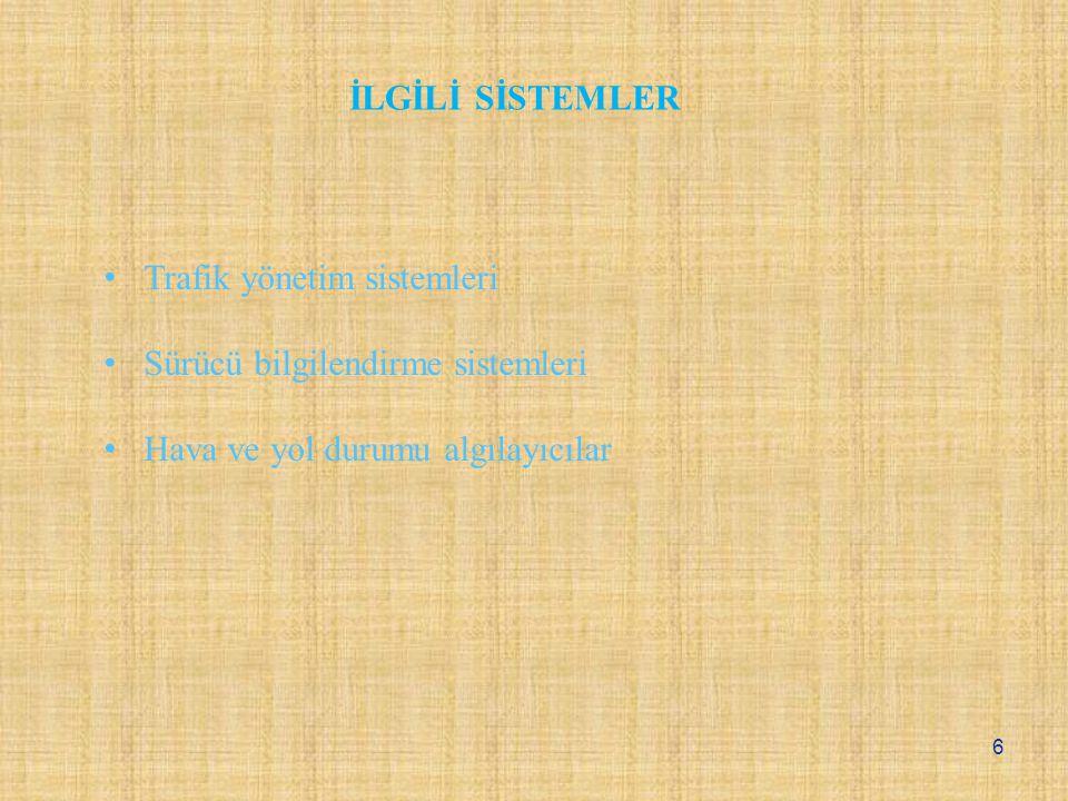 Trafik yönetim sistemleri Sürücü bilgilendirme sistemleri Hava ve yol durumu algılayıcılar İLGİLİ SİSTEMLER 6