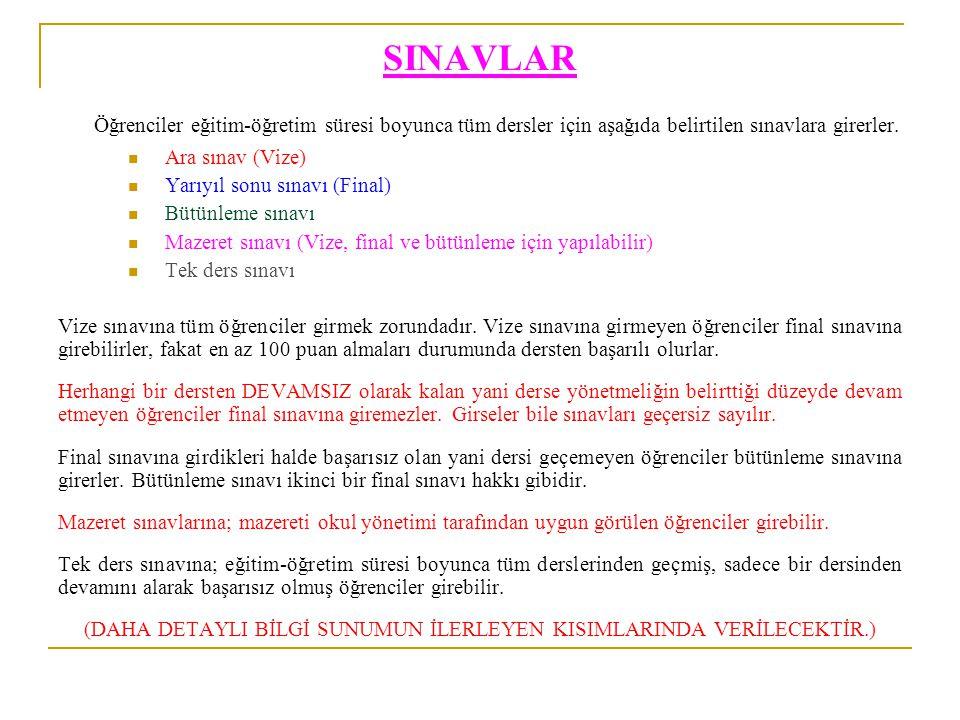SINAVLAR Öğrenciler eğitim-öğretim süresi boyunca tüm dersler için aşağıda belirtilen sınavlara girerler. Ara sınav (Vize) Yarıyıl sonu sınavı (Final)