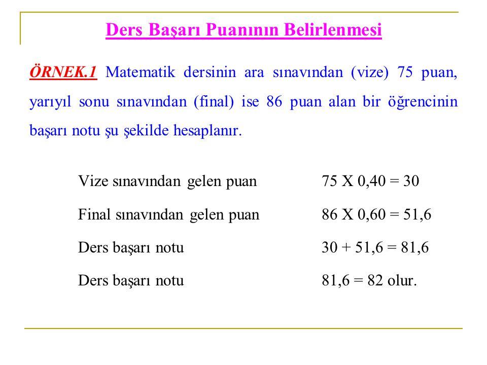 Ders Başarı Puanının Belirlenmesi ÖRNEK.1 Matematik dersinin ara sınavından (vize) 75 puan, yarıyıl sonu sınavından (final) ise 86 puan alan bir öğren