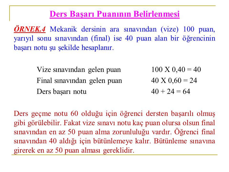 Ders Başarı Puanının Belirlenmesi ÖRNEK.4 Mekanik dersinin ara sınavından (vize) 100 puan, yarıyıl sonu sınavından (final) ise 40 puan alan bir öğrenc