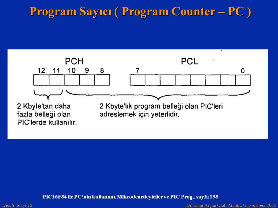 Dr. Emin Argun Oral, Atatürk Üniversitesi 2008 Ders 9, Slayt 10 PIC16F84 ile PC'nin kullanımı, Mikrodenetleyiciler ve PIC Prog., sayfa 138 Program Say