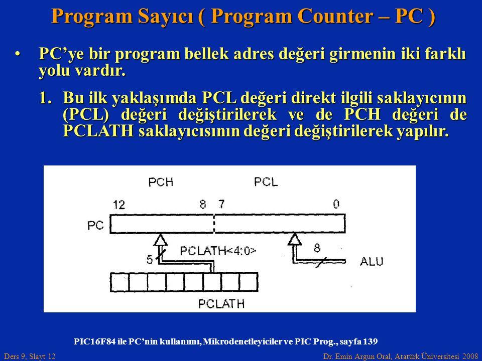 Dr. Emin Argun Oral, Atatürk Üniversitesi 2008 Ders 9, Slayt 12 Program Sayıcı ( Program Counter – PC ) PC'ye bir program bellek adres değeri girmenin
