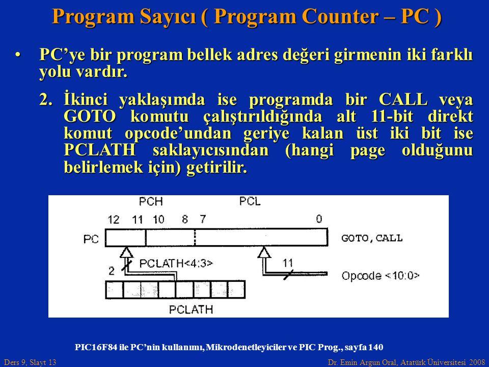 Dr. Emin Argun Oral, Atatürk Üniversitesi 2008 Ders 9, Slayt 13 Program Sayıcı ( Program Counter – PC ) PC'ye bir program bellek adres değeri girmenin