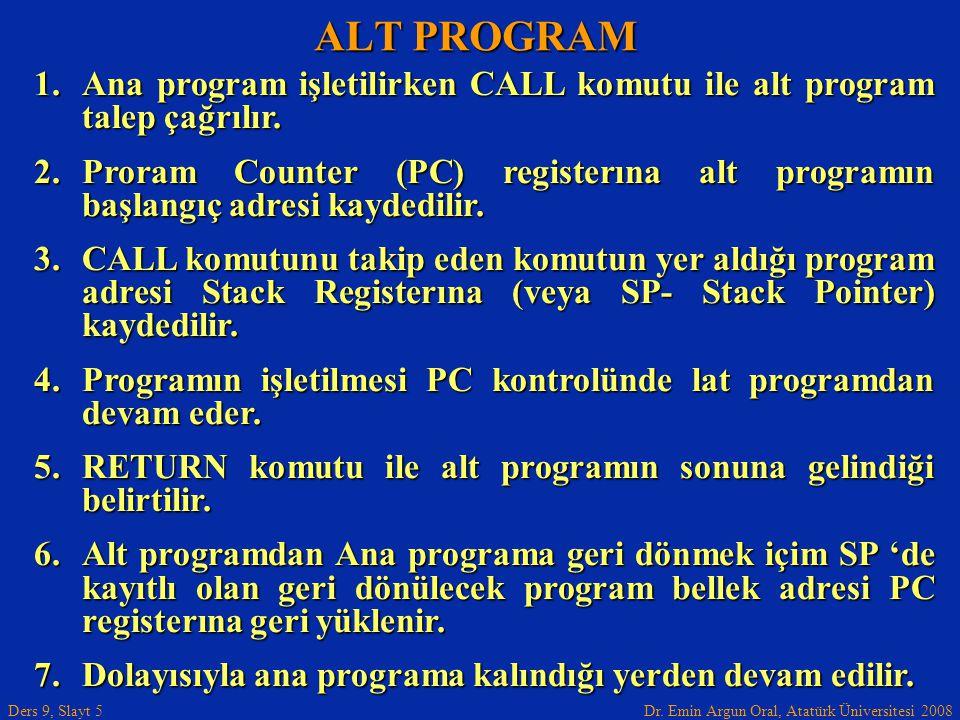 Dr. Emin Argun Oral, Atatürk Üniversitesi 2008 Ders 9, Slayt 5 ALT PROGRAM 1.Ana program işletilirken CALL komutu ile alt program talep çağrılır. 2.Pr