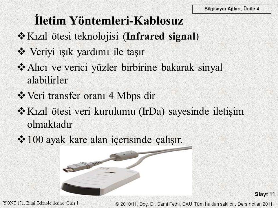 YONT 171, Bilgi Teknolojilerine Giriş I © 2010/11, Doç. Dr. Sami Fethi, DAÜ, Tüm hakları saklıdır, Ders notları 2011 Bilgisayar Ağları; Ünite 4 Slayt
