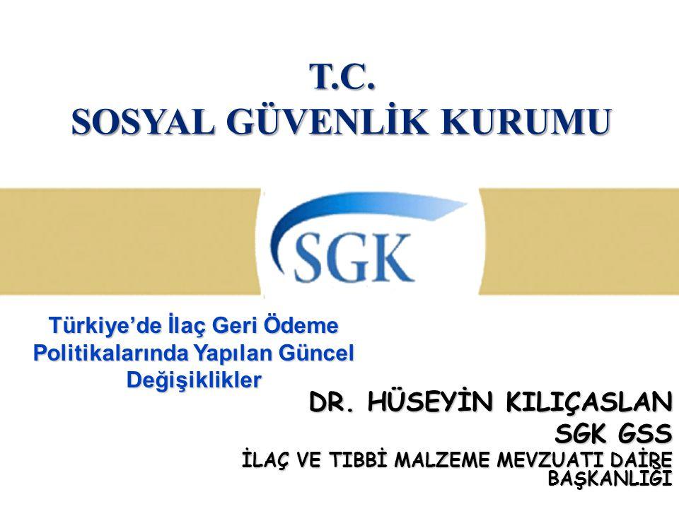 T.C. SOSYAL GÜVENLİK KURUMU DR. HÜSEYİN KILIÇASLAN SGK GSS İLAÇ VE TIBBİ MALZEME MEVZUATI DAİRE BAŞKANLIĞI Türkiye'de İlaç Geri Ödeme Politikalarında