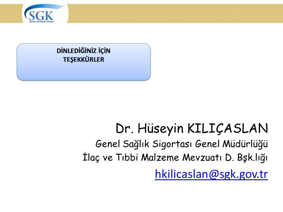 Dr. Hüseyin KILIÇASLAN Genel Sağlık Sigortası Genel Müdürlüğü İlaç ve Tıbbi Malzeme Mevzuatı D. Bşk.lığı hkilicaslan@sgk.gov.tr